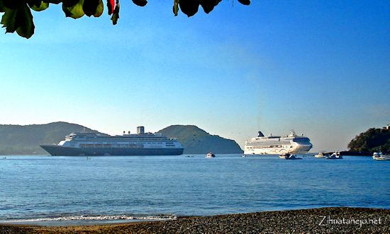 Two cruise ships in Zihuatanejo Bay